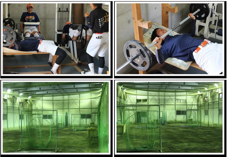 埼玉栄高等学校女子ソフトボール部の室内練習場とトレーニングルームの風景